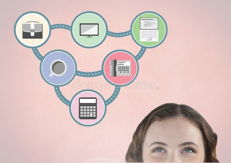Mulher que olha para cima para o ícone de conexão da aplicação ilustração do vetor