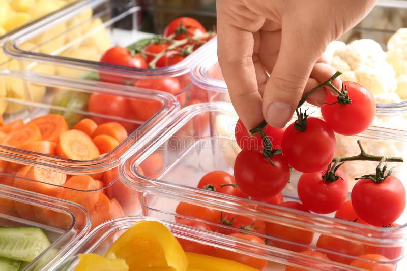 Mulher que p?e tomates na caixa e nos recipientes com vegetais crus foto de stock