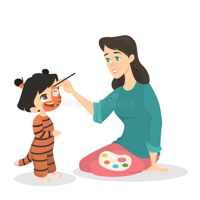 Mulher que pinta a cara da menina no traje do tigre ilustração do vetor
