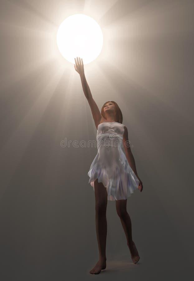 Mulher que prende a esfera luminosa ilustração do vetor