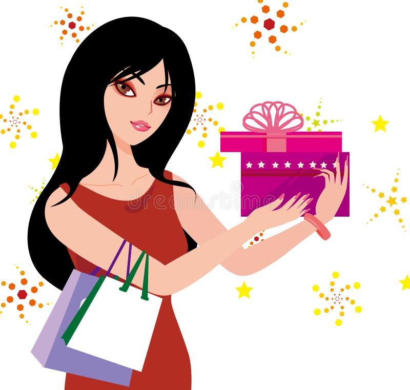 Download Mulher Que Prende Um Presente Ilustração do Vetor - Ilustração de feliz, sumário: 16868422