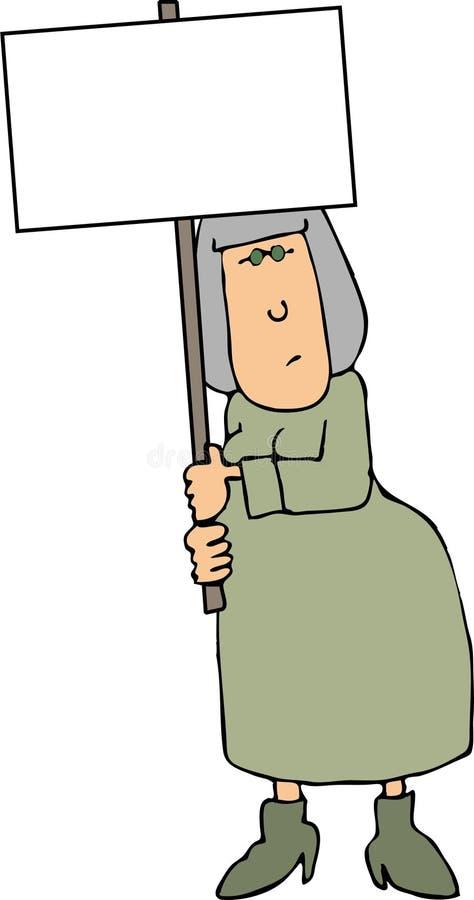 Mulher que prende um sinal em branco ilustração do vetor