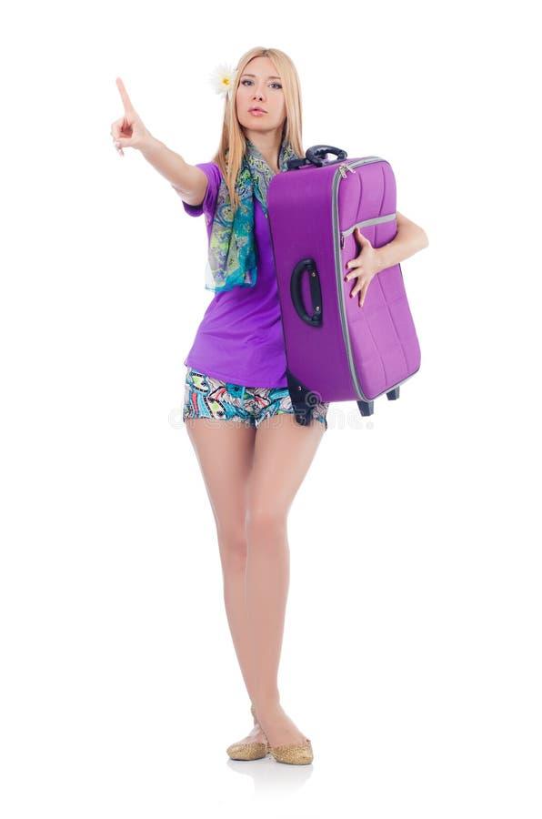 Mulher que prepara-se para férias fotos de stock