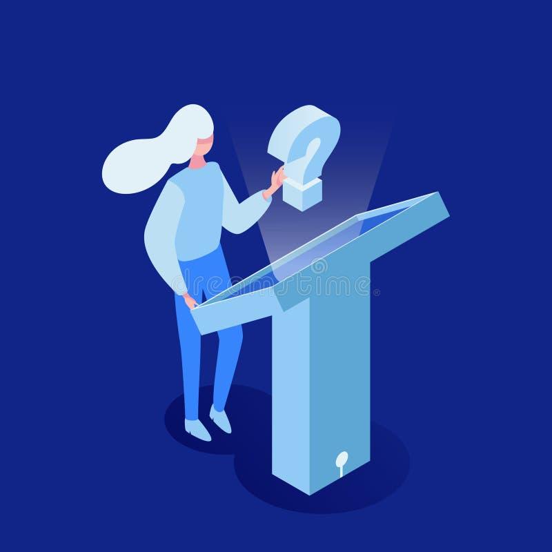 Mulher que procura a ilustração isométrica do vetor de informação Tecnologia futurista, monitor interativo, apoio ao cliente ilustração do vetor