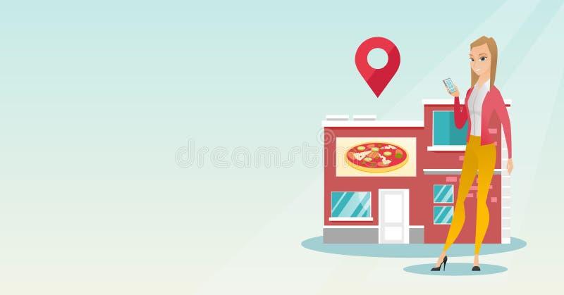 Mulher que procura um restaurante em seu smartphone ilustração royalty free