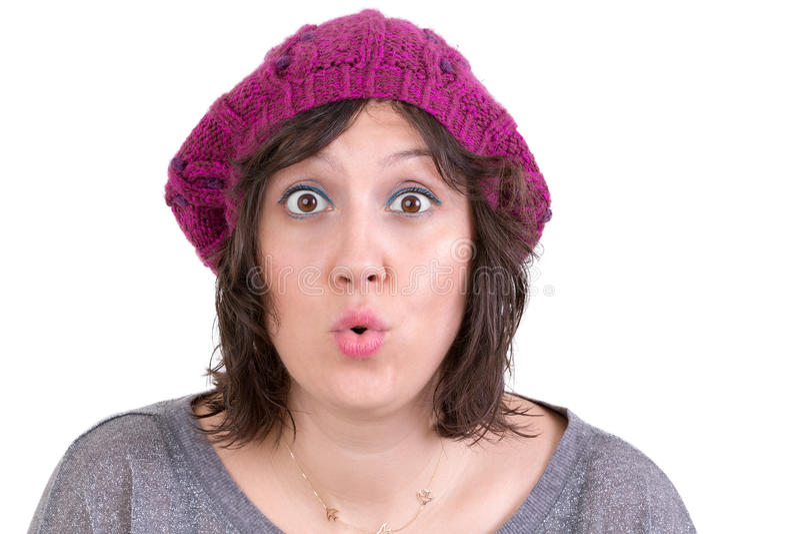 Mulher que reage na perplexidade e na maravilha fotos de stock