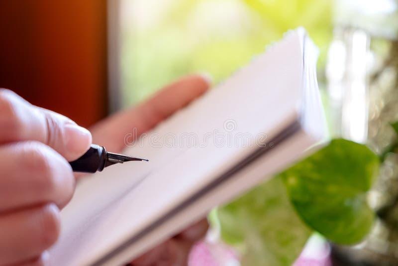 Mulher que realiza e que escreve no caderno pela pena de fonte ao sentar-se no café com fundo verde da natureza do borrão fotos de stock