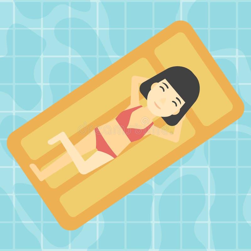 Mulher que relaxa na piscina ilustração stock