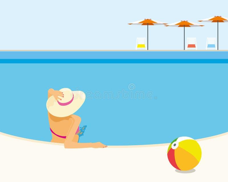 A mulher que relaxa na piscina do recurso aprecia o banho do sol ilustração do vetor