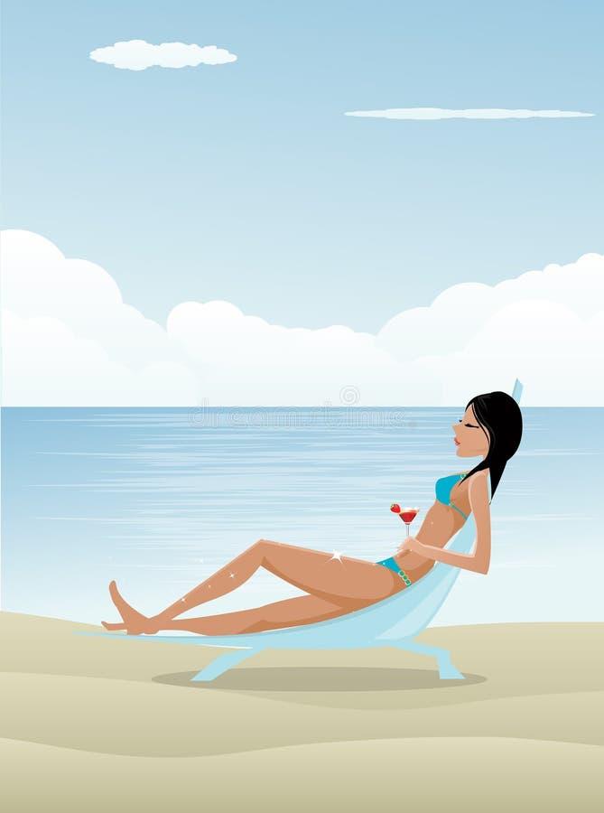 Mulher que relaxa na praia ilustração stock
