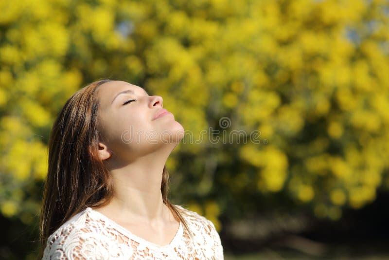 Mulher que respira profundamente na mola ou no verão fotografia de stock royalty free