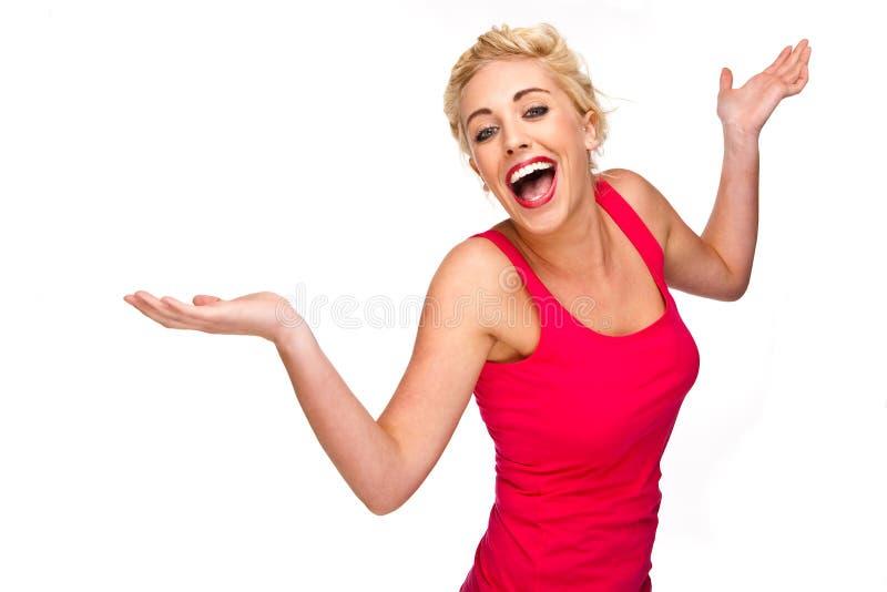 Mulher que ri, sorrindo e dançando fotografia de stock