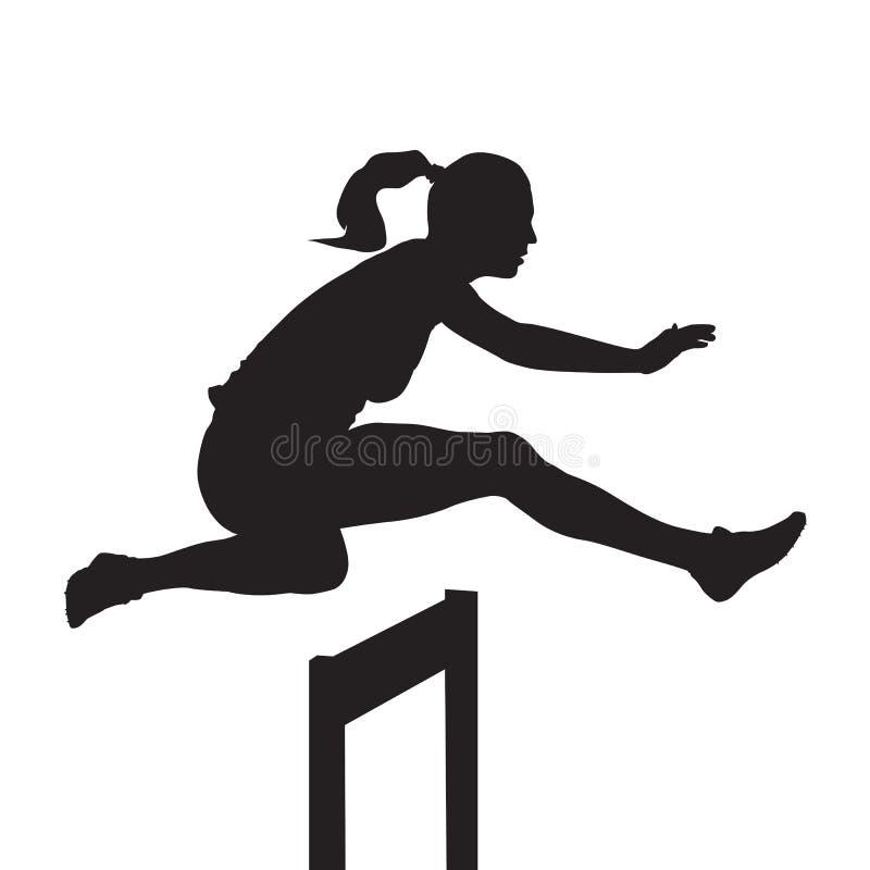 A mulher que salta e que corre sobre obstáculos ilustração stock