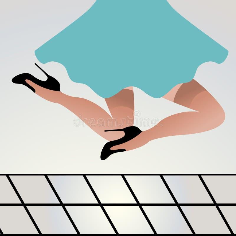 A mulher que salta para a alegria ilustração stock