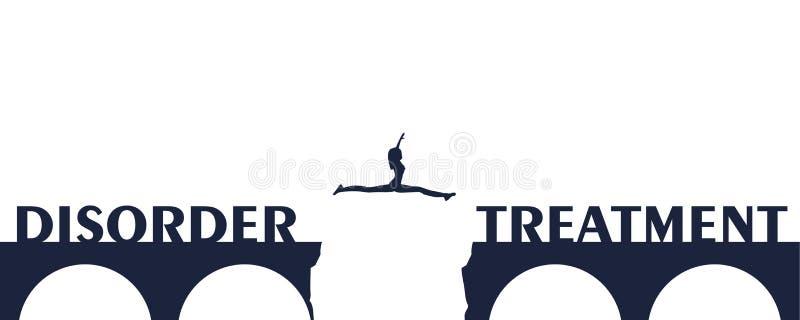 A mulher que salta sobre uma diferença na ponte ilustração stock