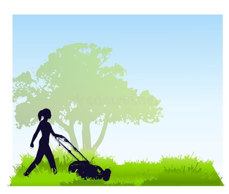 Mulher que sega o gramado ilustração do vetor