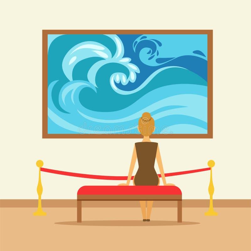 Mulher que senta-se em um banco e que olha a pintura que pendura na parede da galeria ilustração stock