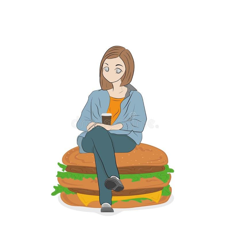 mulher que senta-se em um Hamburger Conceito do fast food Nutrição apropriada Ilustração do vetor ilustração royalty free