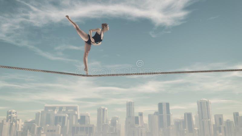 Mulher que senta-se em uma corda ilustração stock