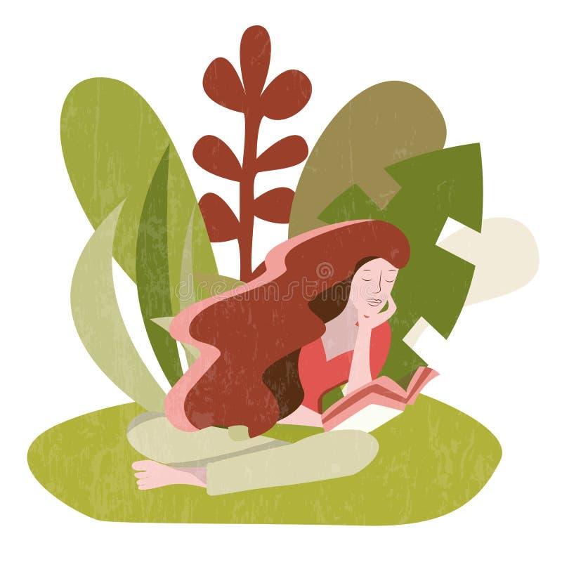 Mulher que senta-se lendo um livro fora ilustração do vetor