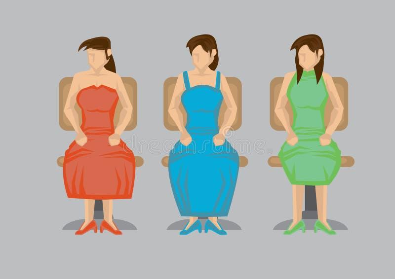 Mulher que senta-se na ilustração do vetor do personagem de banda desenhada da cadeira de giro ilustração stock