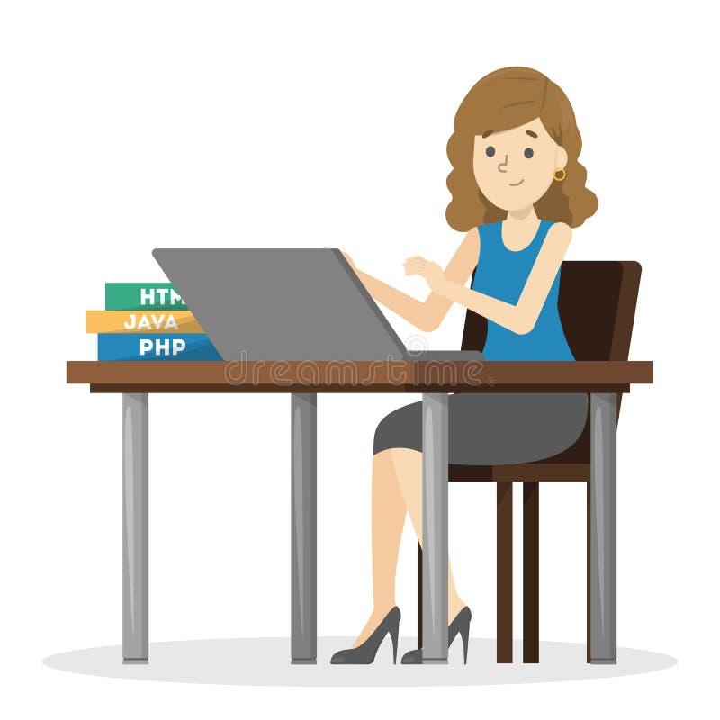 Mulher que senta-se na mesa e no trabalho ilustração stock