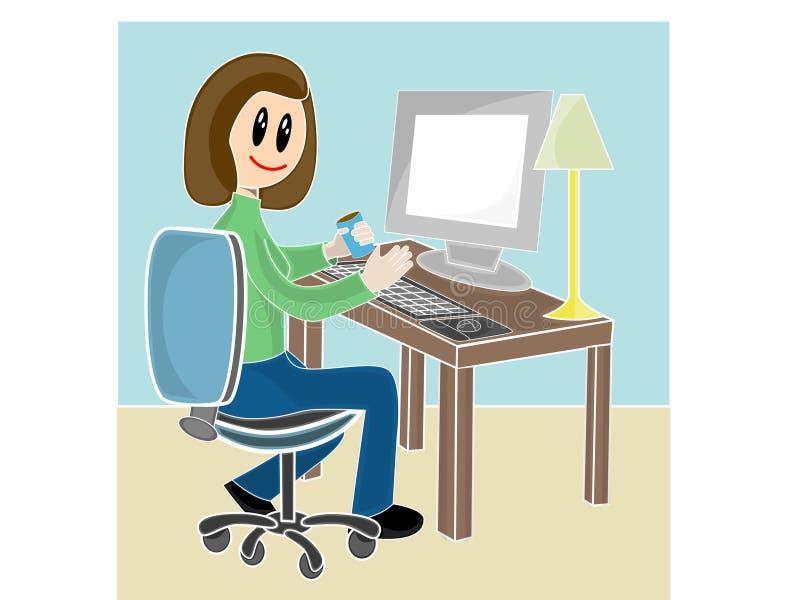 Mulher que senta-se na mesa na frente do computador ilustração do vetor