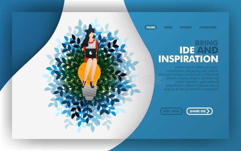 A mulher que senta-se no conceito da lâmpada, da ilustração do vetor de procurar ideias e inspiração Fácil de usar para o Web sit ilustração royalty free