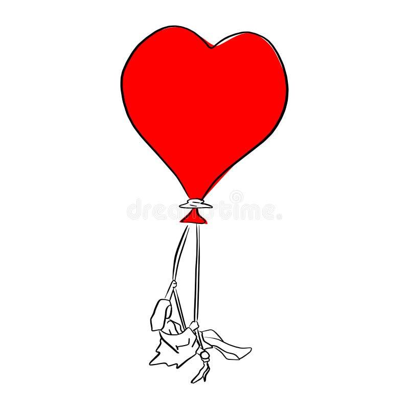 Mulher que senta-se no log com cordas da mão vermelha da garatuja do esboço da ilustração do vetor do balão da forma do coração t ilustração do vetor