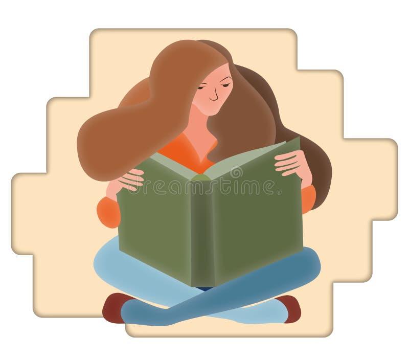 Mulher que senta-se para baixo lendo um livro em um fundo abstrato ilustração royalty free