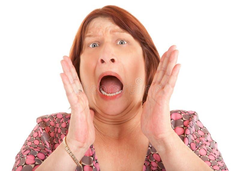 Mulher que Shouting para a ajuda fotos de stock royalty free