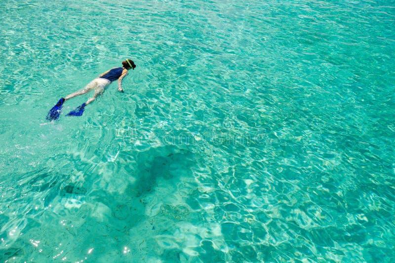 Mulher que snorkeling foto de stock royalty free
