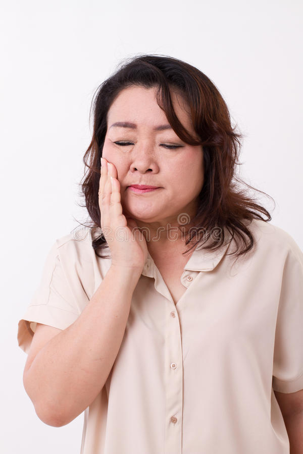 Mulher que sofre do toothache imagens de stock