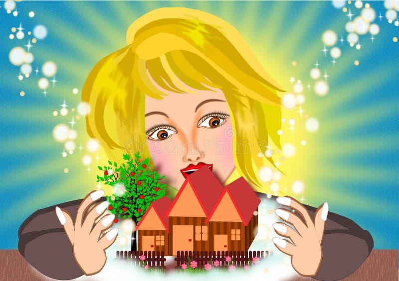 Mulher que sonha de uma casa nova ilustração do vetor