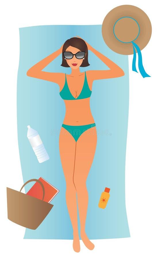 Mulher que sunbathing ilustração royalty free
