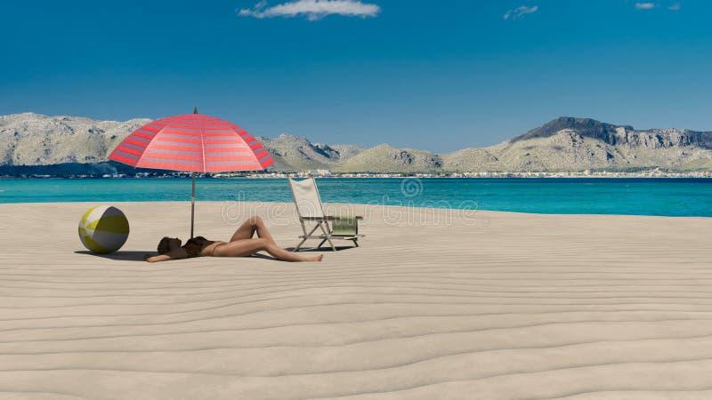 Mulher que Sunbathing em uma praia ilustração stock