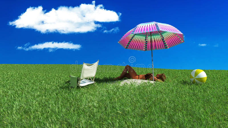 Mulher que Sunbathing em uma praia ilustração do vetor