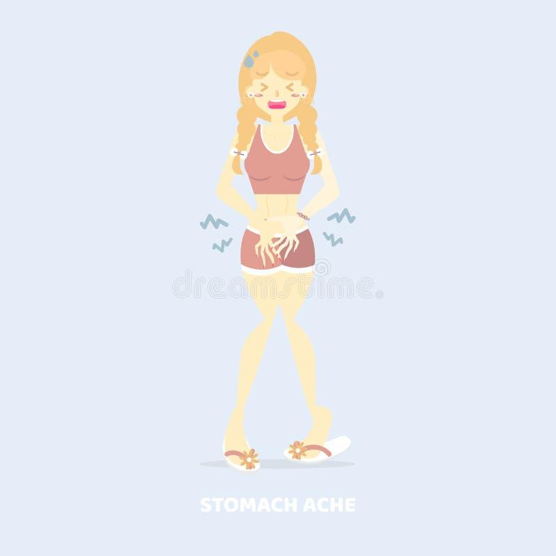 Mulher que tem a dor de estômago, dor abdominal, com fome, diarreia, poisioning, conceito dos sintomas da doença dos cuidados méd ilustração stock