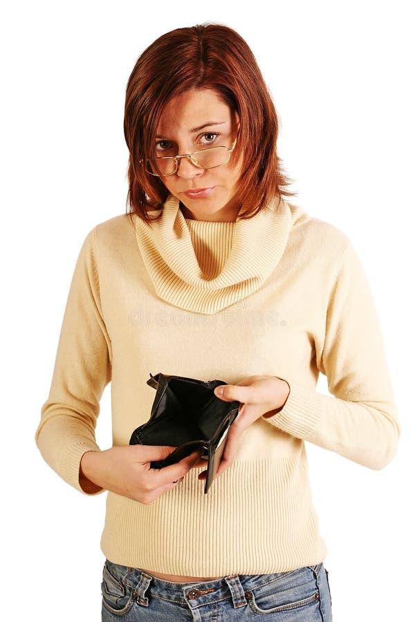 Mulher que tem problemas financeiros foto de stock royalty free