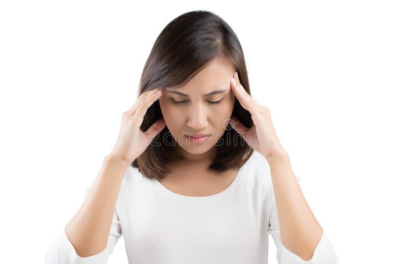 Mulher que tem uma dor de cabeça imagem de stock royalty free