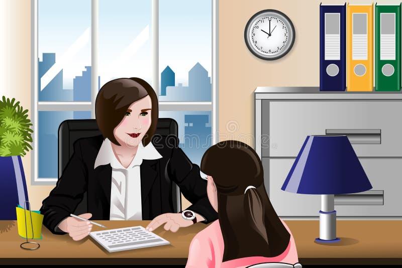 Mulher que tem uma entrevista de trabalho ilustração stock