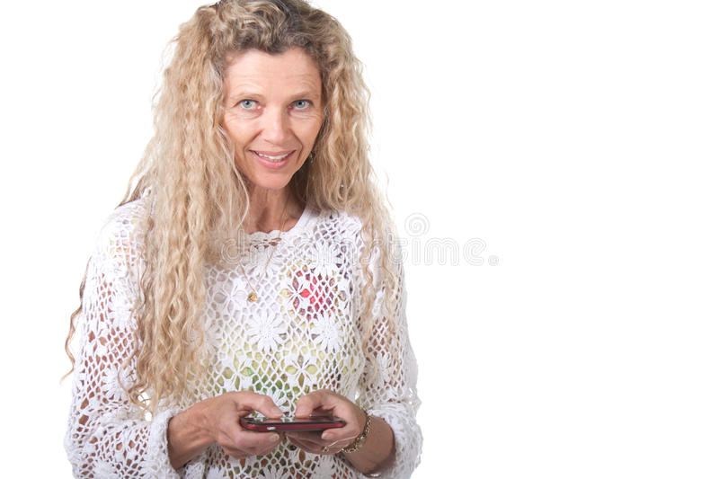 Mulher que texting foto de stock royalty free