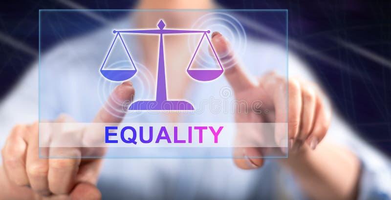 Mulher que toca em um conceito da igualdade ilustração do vetor