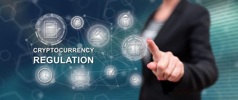 Mulher que toca em um conceito regulamentar do cryptocurrency fotografia de stock royalty free