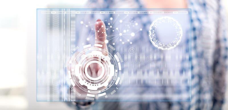 Mulher que toca em um conceito virtual da tecnologia imagem de stock royalty free