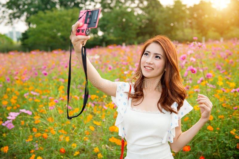 A mulher que toma fotos em um cosmos floresce imagem de stock royalty free