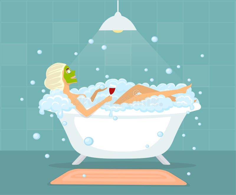 Mulher que toma um banho de espuma em uma banheira do vintage ilustração stock