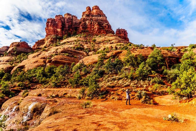 Mulher que toma uma imagem da vegetação na rocha de Bell, uma das rochas vermelhas famosas entre a vila de Oak Creek e Sedona imagens de stock royalty free