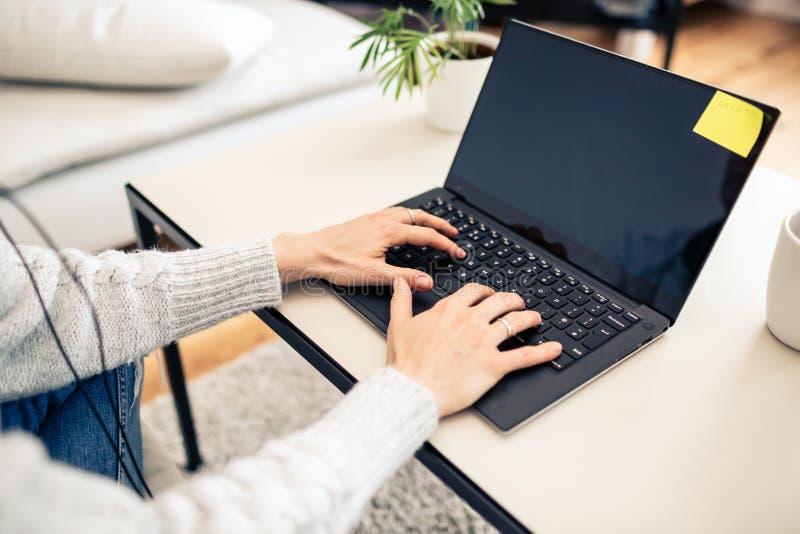 Mulher que trabalha da casa no laptop fotografia de stock royalty free