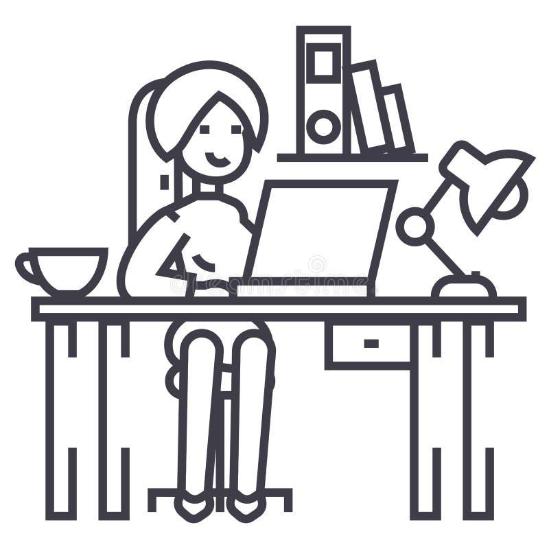 Mulher que trabalha na tabela do escritório, interior do escritório, linha ícone do vetor do freelancer, sinal, ilustração no fun ilustração do vetor